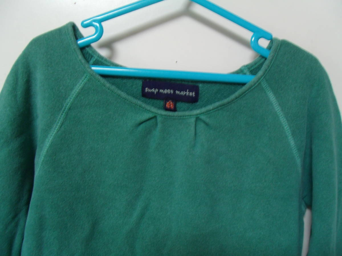 全国送料¥198 スワップミートマーケットSWAP MEET MARKETフィスFITH製 子供キッズ女の子緑色長袖スウェット&コーデュロイワンピース110_トップスはスウェット素材です。