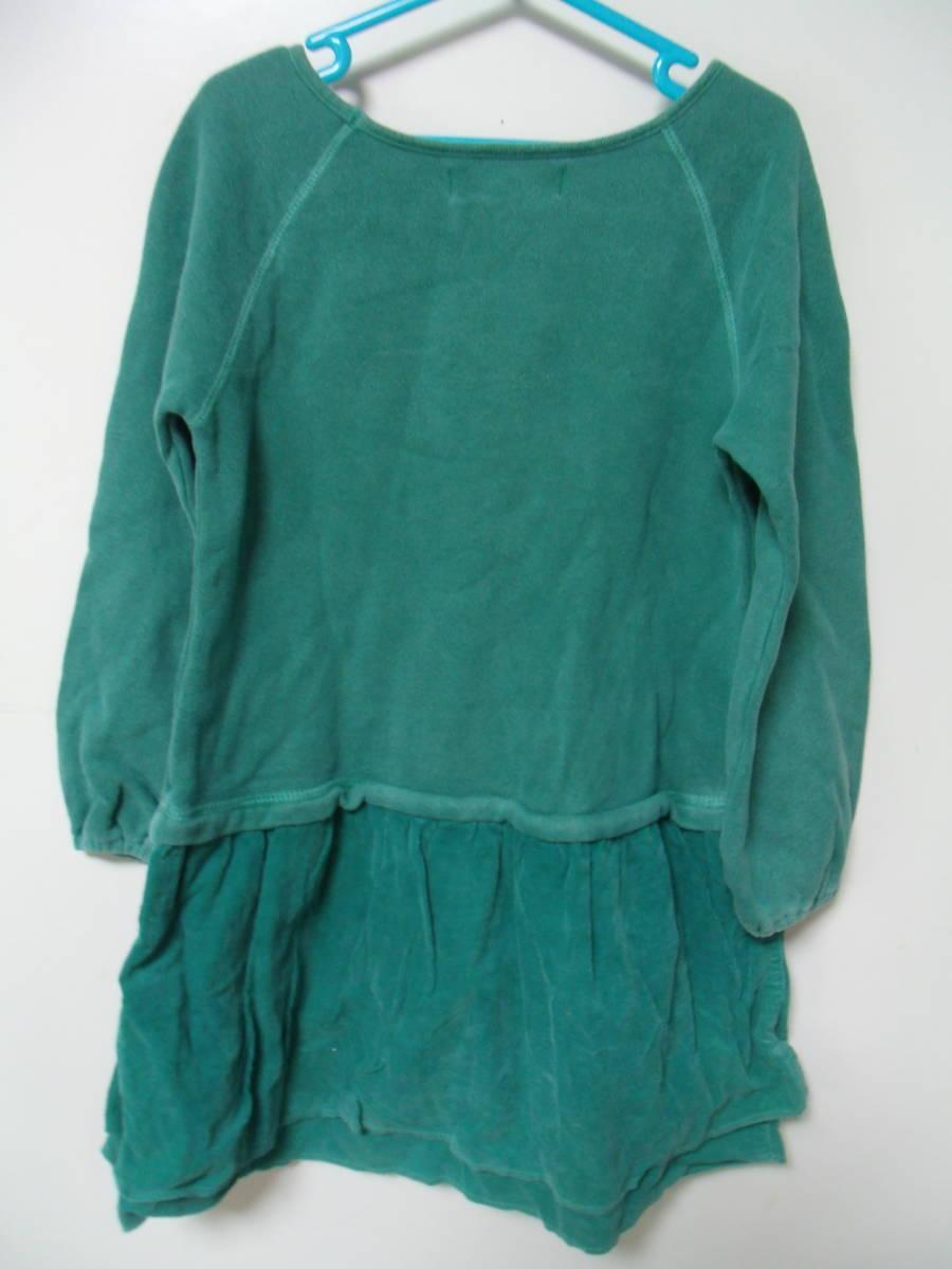 全国送料¥198 スワップミートマーケットSWAP MEET MARKETフィスFITH製 子供キッズ女の子緑色長袖スウェット&コーデュロイワンピース110_画像5