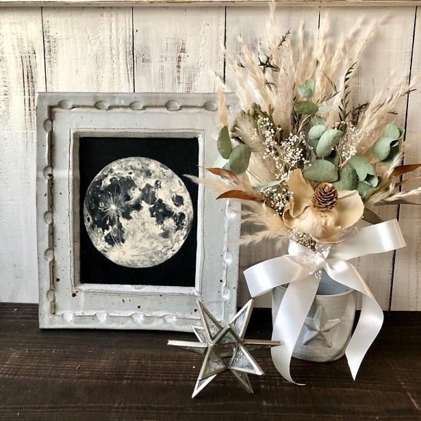星月猫★「ココフラワーとパンパスグラスの小さなホワイトスワッグ」ドライフラワー ブーケ 花束_画像5