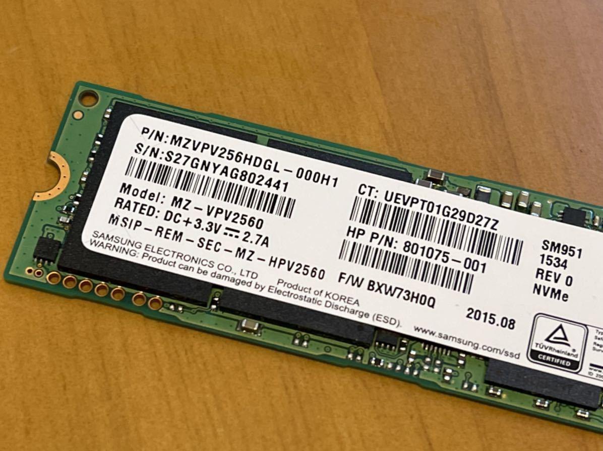 ★美品送無★SAMSUNG SM951 950 Pro同等 256GB NVMe SSD 動作確認済み HP純正 2441