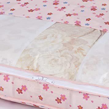 羽毛 アストロ 羽毛布団 収納袋 シングル用 ピンクフラワー柄 不織布 コンパクト 優しく圧縮 197-05_画像6