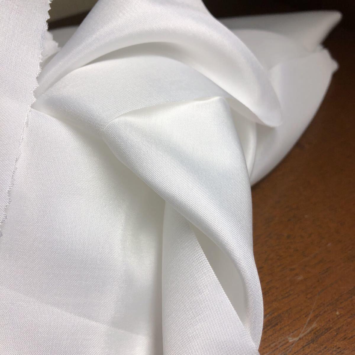 着物の裏地?長襦袢?反物 無地 白生地 純白 裏地素材として ハンドメイド素材 化繊 つまみ細工等素材に