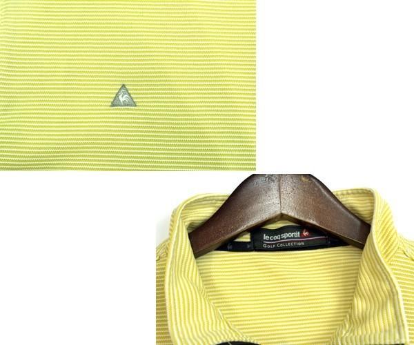 ルコック ゴルフ le coq sportif GOLF ハーフジップ ボーダー半袖ゴルフシャツ ポロシャツ カジュアルにも サイズL 0808k_画像3