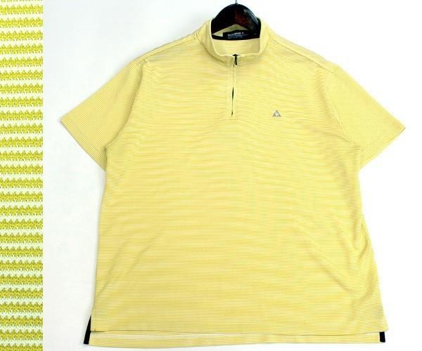 ルコック ゴルフ le coq sportif GOLF ハーフジップ ボーダー半袖ゴルフシャツ ポロシャツ カジュアルにも サイズL 0808k_画像1