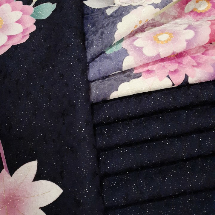 正絹 81601 紺紫色 花柄 シルク350cm はぎれ ハギレ リメイク ハンドメイド