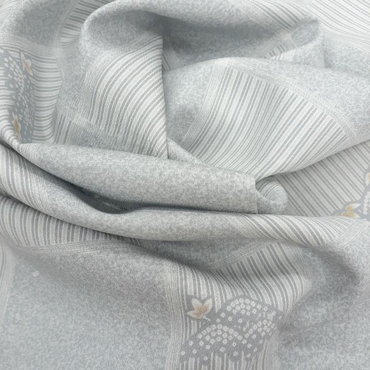 正絹 81801 水色 グレー 小紋 シルク175cm はぎれ ハギレ リメイク ハンドメイド