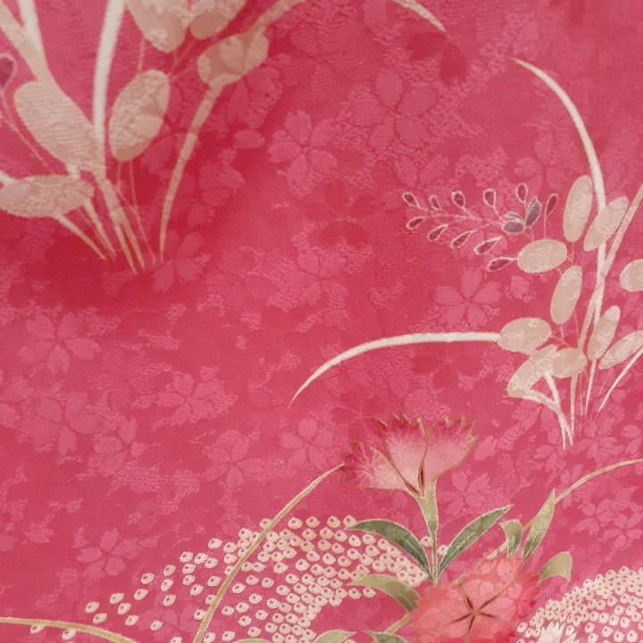 正絹 82805 ピンク色 撫子 藤 花柄 疋田 シルク230cm はぎれ ハギレ リメイク ハンドメイド