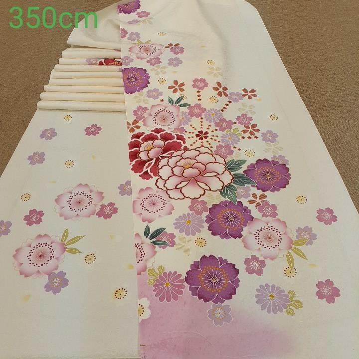 正絹 83199 白色 花柄 シルク350cm はぎれ ハギレ リメイク ハンドメイド