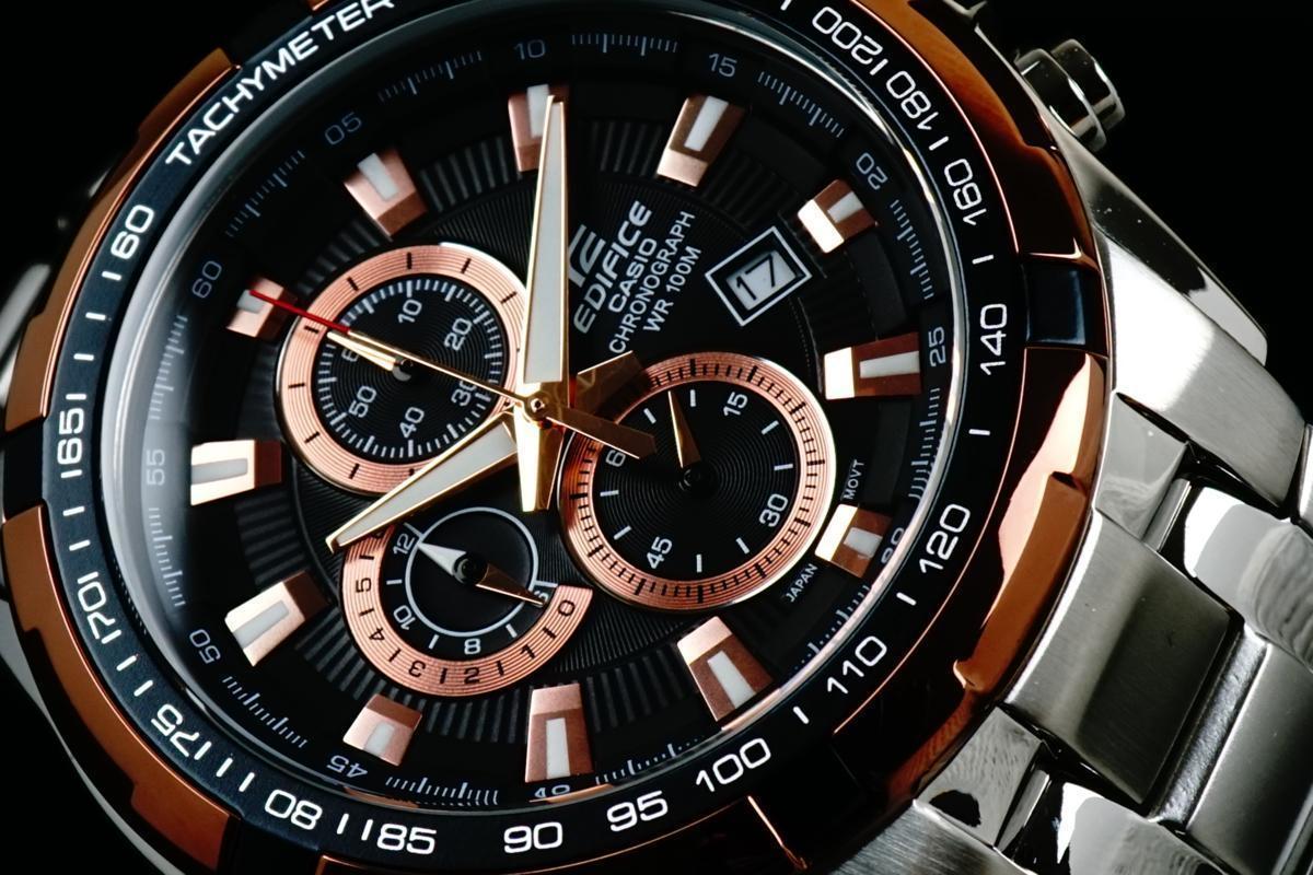 1円×3本 カシオ 逆輸入 EDIFICE ピンクゴールド 100m防水 クロノグラフ エディフィス 欧米モデルCASIO 本物新品 メンズ 腕時計 1スタ