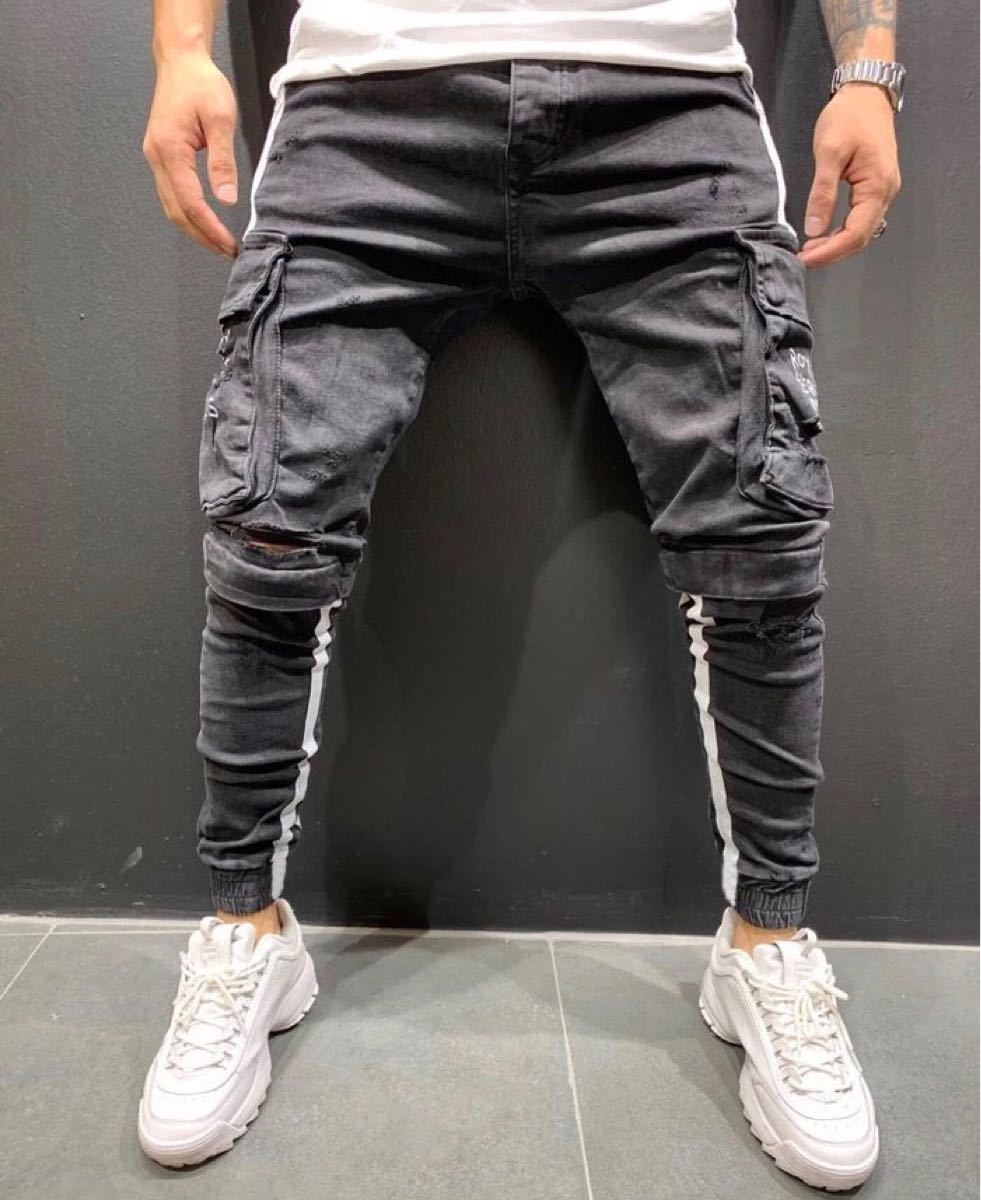デニム テーパードパンツ ボトムス スキニー ジーンズ ラインパンツ ジョガーパンツ ダメージデニム 黒 ブラック S L パンツ
