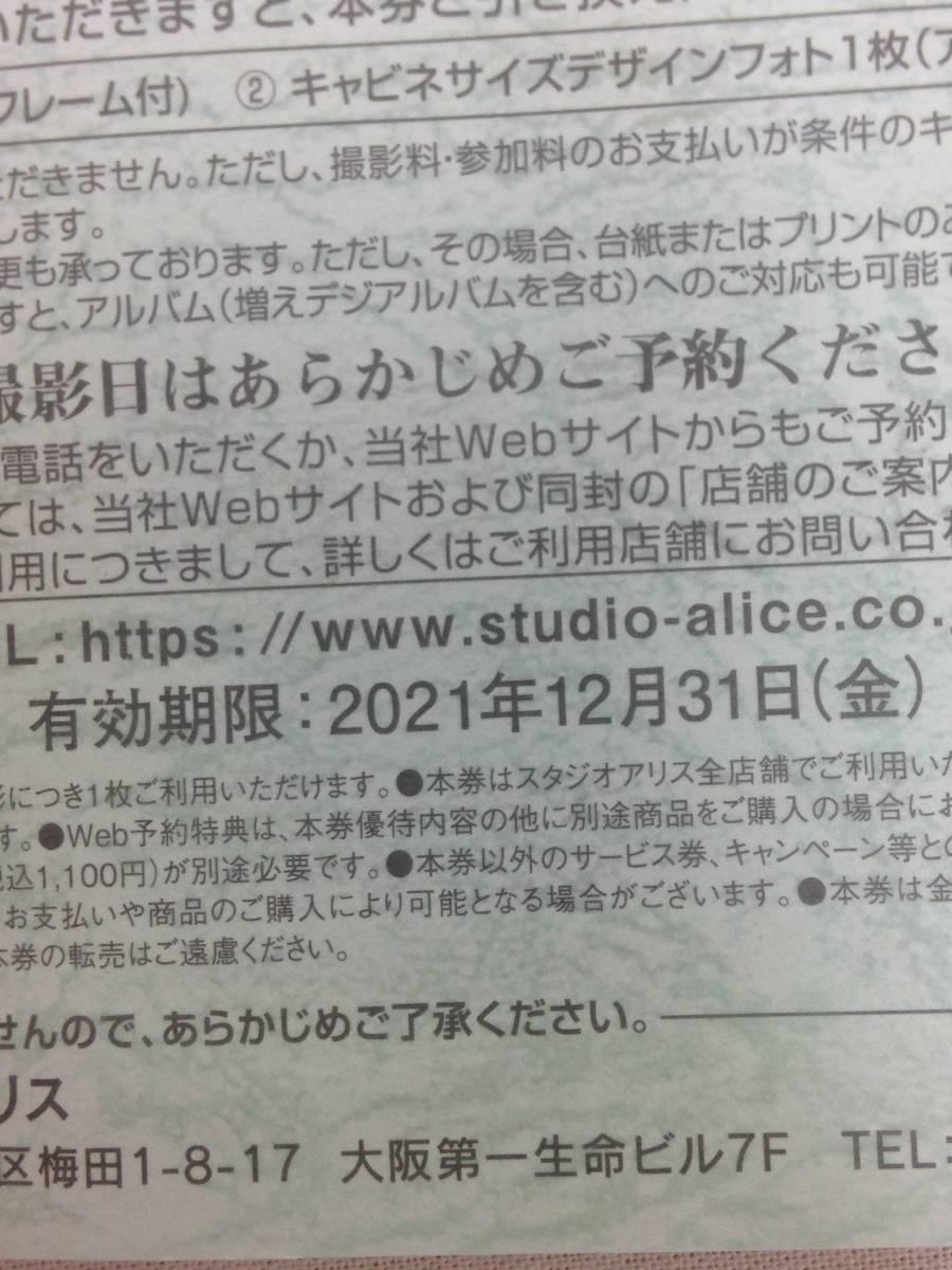 【有効期限有り】スタジオアリス株主優待 1枚 株主写真撮影券_画像3