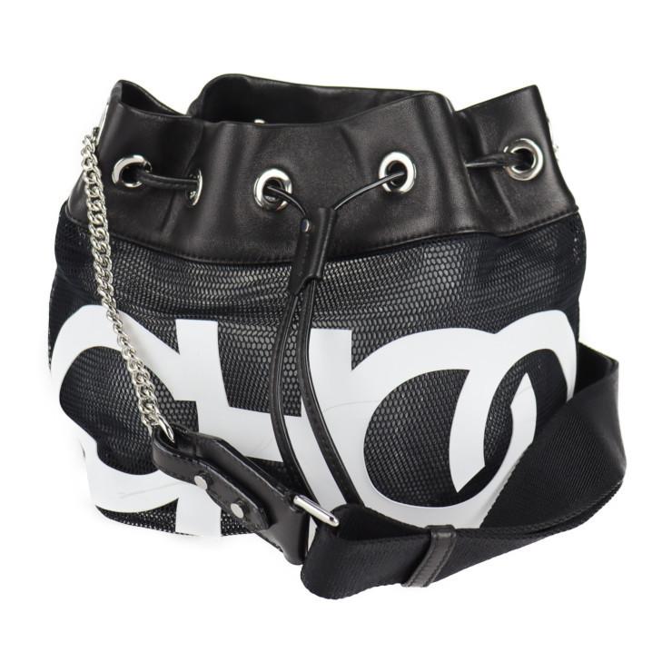 Good Condition JIMMY CHOO Shoulder Bag Nylon Black White Drawstring Chain Bag Mesh [Genuine Guarantee] Ladies Bag & Shoulder Bag & Others