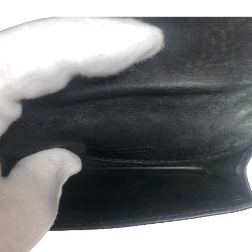 泉店 21-3 BOTTEGA VENETA ボッテガヴェネタ イントレチャート レザー 二つ折り カードケース 名刺入れ ブラック メンズ 【中古】_画像8