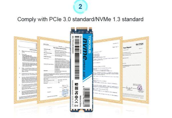 【最安】新品 SSD 256GB TOROSUS M.2 NVMe PCI-E 未開封 デスクトップ ノートPC 高速 2280 TLC 3D NAND 内蔵型 パソコン_画像6