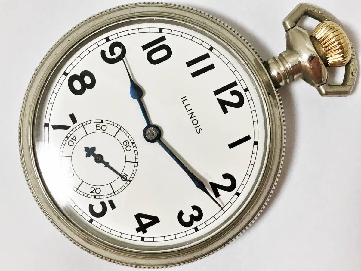 1917年製◆ILLINOIS 17石 16S Gr,304 第一次世界大戦期 イリノイ懐中時計◆