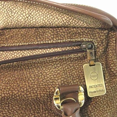 ボルボネーゼ BORBONESE ハンドバッグ トート うずら柄 スエード 切替 レザー フラップ 茶 ブラウン 鞄 レディース_画像5