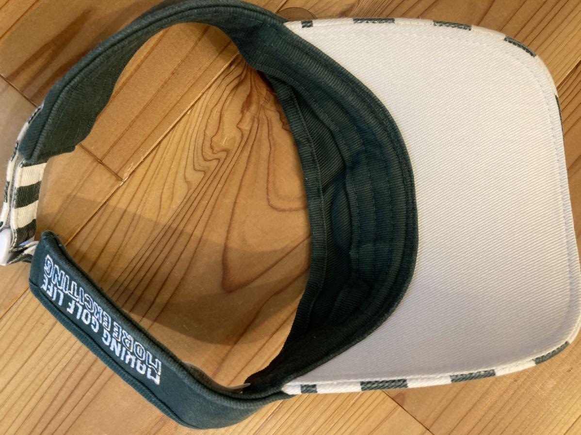 パーリーゲイツ PEARLYGATES ゴルフサンバイザー ボーダー 緑×白 ワッペン サンバイザー 帽子 日除け GOLF ゴルフウェア_画像3