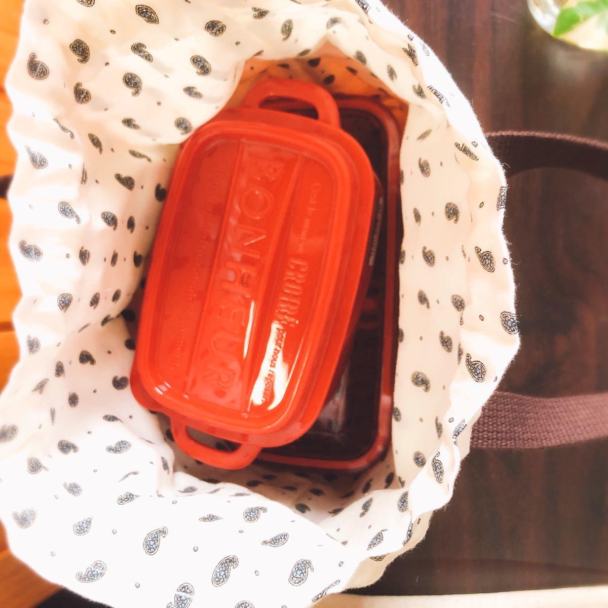ハンドメイド 持ち手付きランチバッグ カゴ風 かごバッグ トートバッグ ハンドメイド