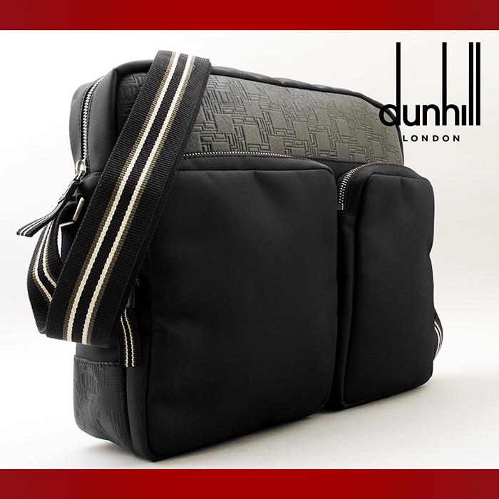 【使用わずか】 dunhill ダンヒル D8 ディーエイト ショルダーバッグ 斜め掛けバッグ ナイロン×レザー ブラック (7-012)