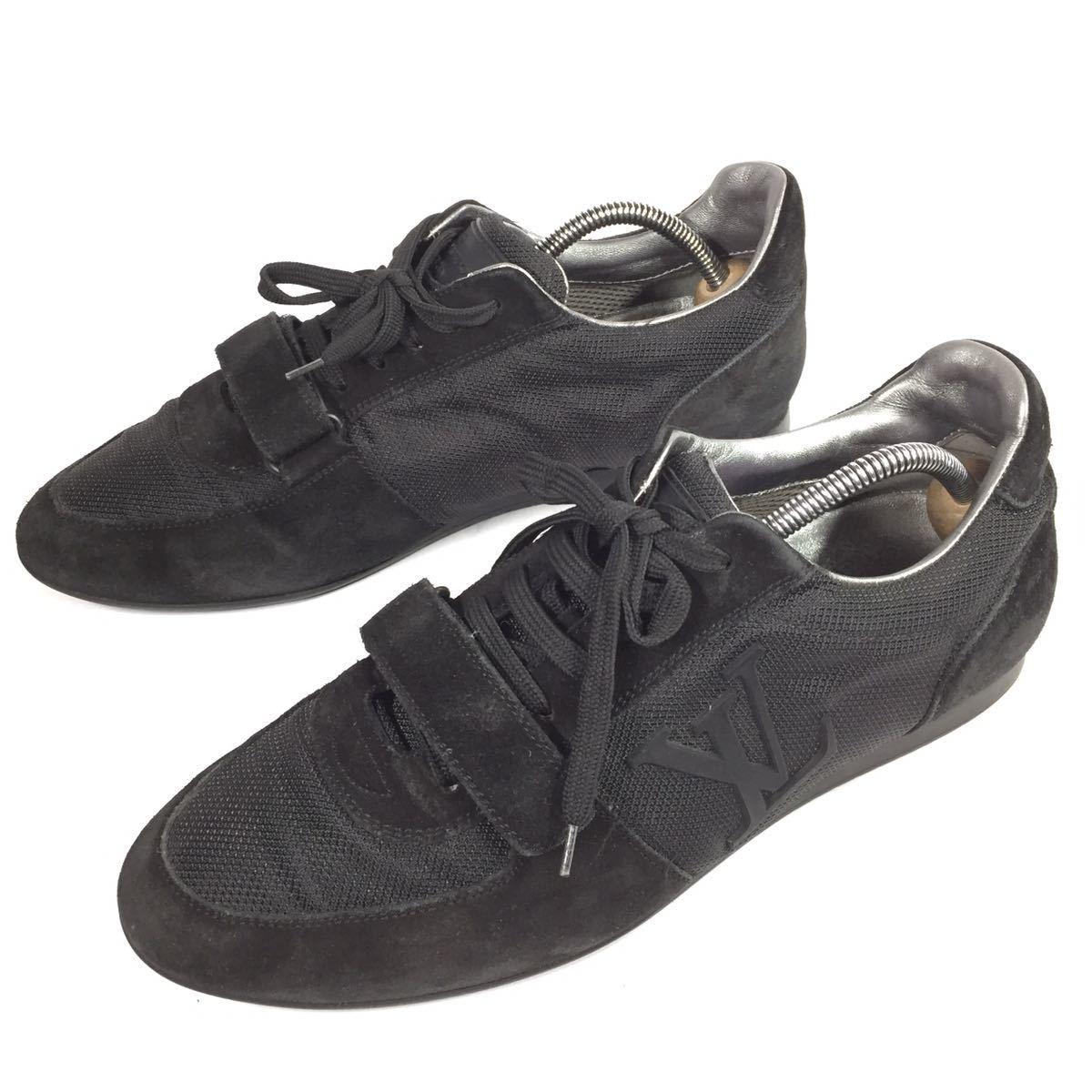 【ルイヴィトン】本物 LOUIS VUITTON 靴 26cm 黒色系 LVロゴ スニーカー カジュアルシューズ スエード 男性用 メンズ イタリア製 7_画像1