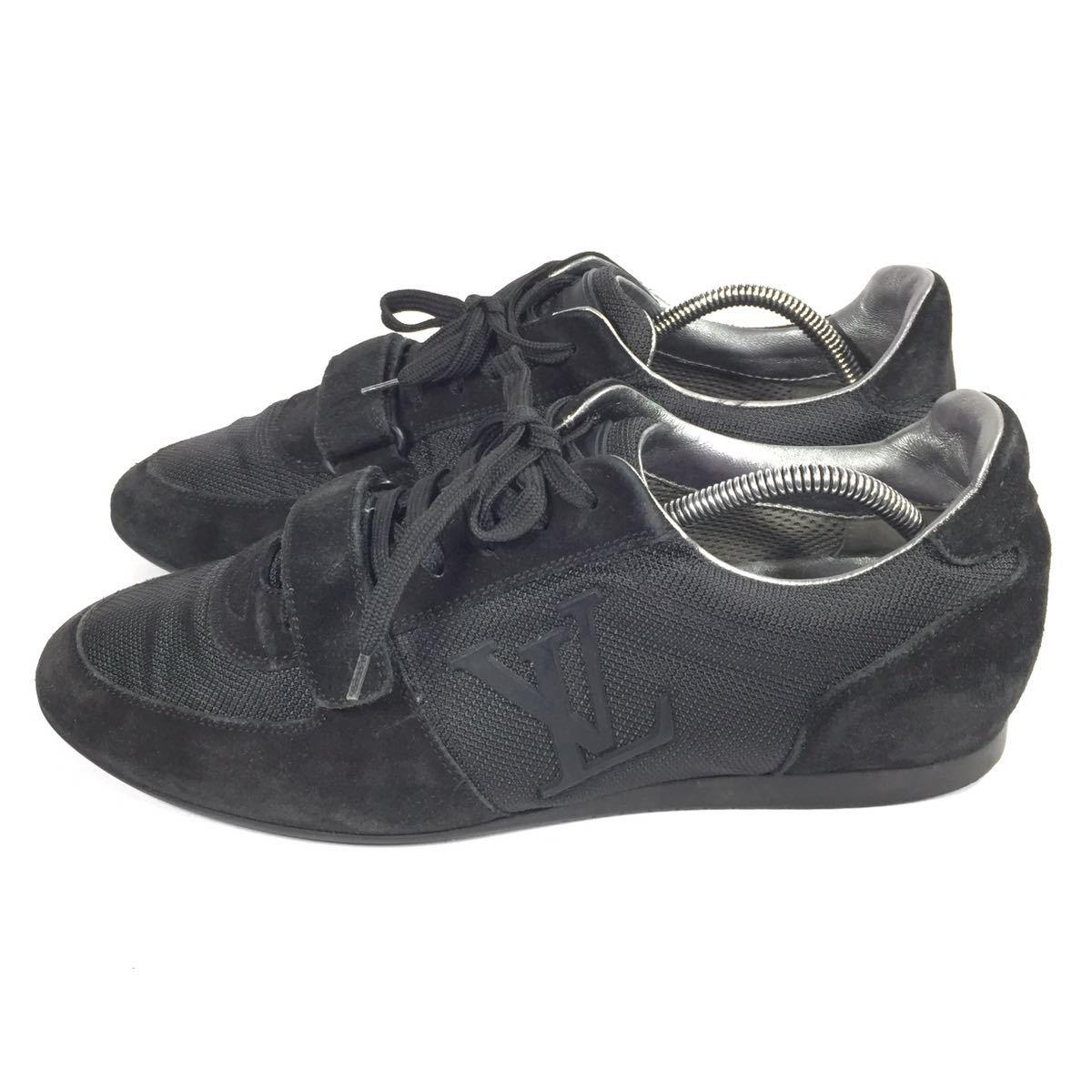 【ルイヴィトン】本物 LOUIS VUITTON 靴 26cm 黒色系 LVロゴ スニーカー カジュアルシューズ スエード 男性用 メンズ イタリア製 7_画像6