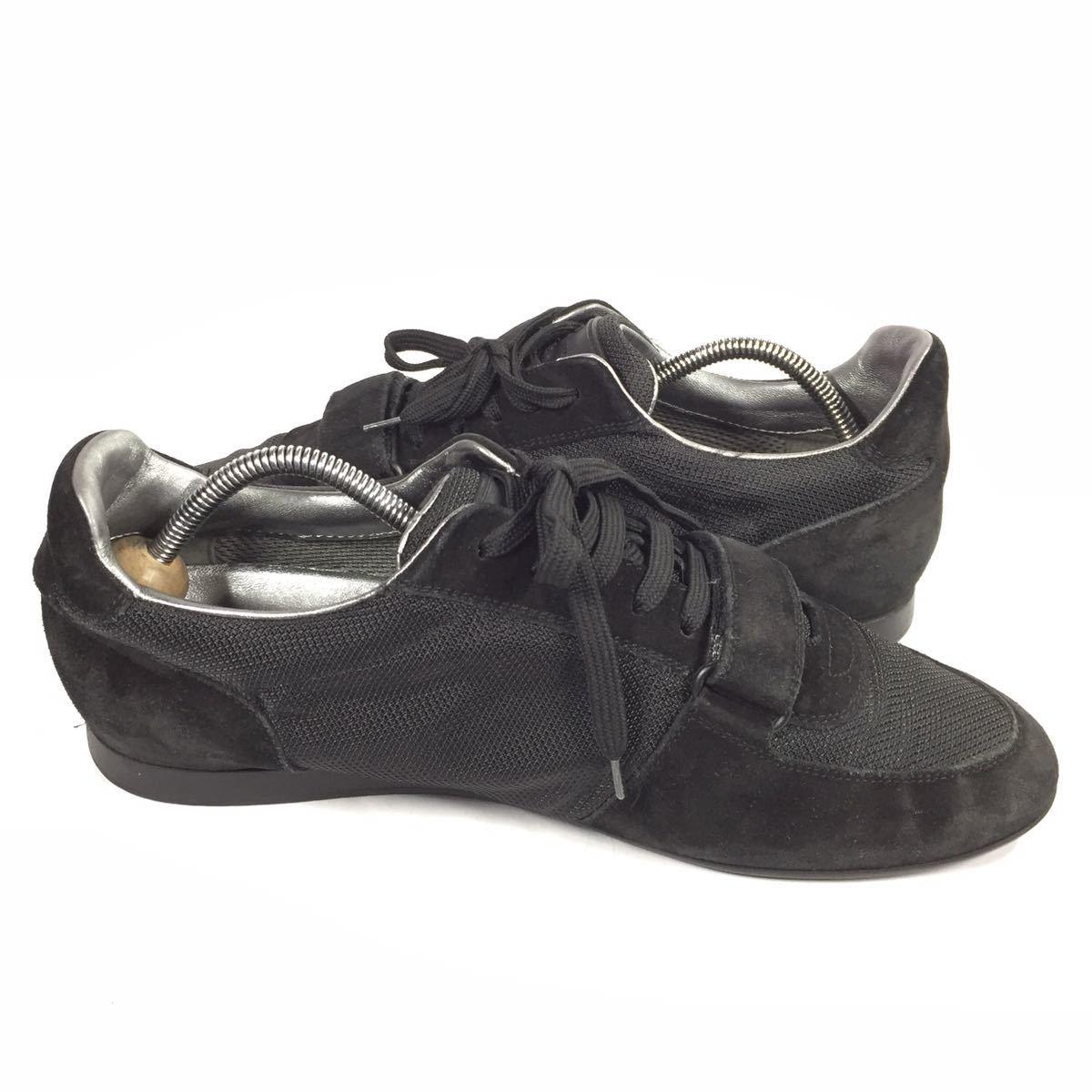 【ルイヴィトン】本物 LOUIS VUITTON 靴 26cm 黒色系 LVロゴ スニーカー カジュアルシューズ スエード 男性用 メンズ イタリア製 7_画像7