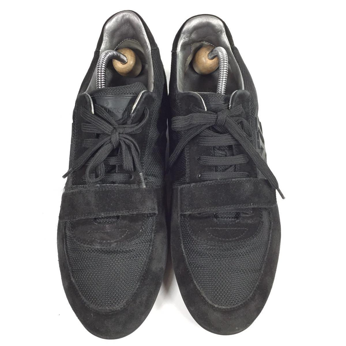 【ルイヴィトン】本物 LOUIS VUITTON 靴 26cm 黒色系 LVロゴ スニーカー カジュアルシューズ スエード 男性用 メンズ イタリア製 7_画像2