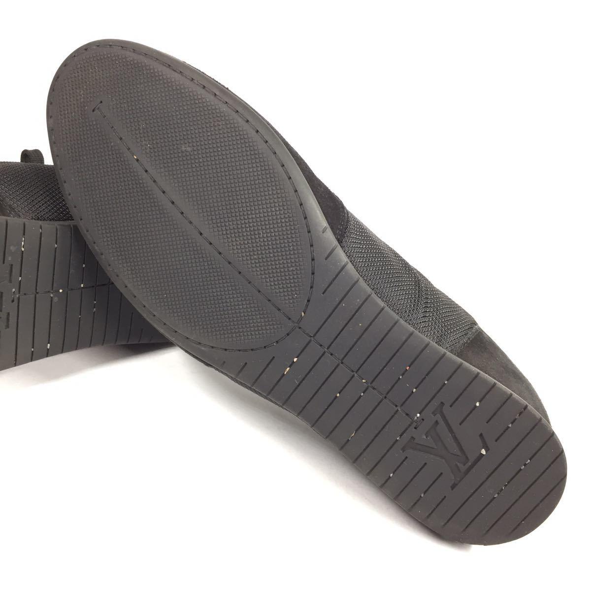 【ルイヴィトン】本物 LOUIS VUITTON 靴 26cm 黒色系 LVロゴ スニーカー カジュアルシューズ スエード 男性用 メンズ イタリア製 7_画像5