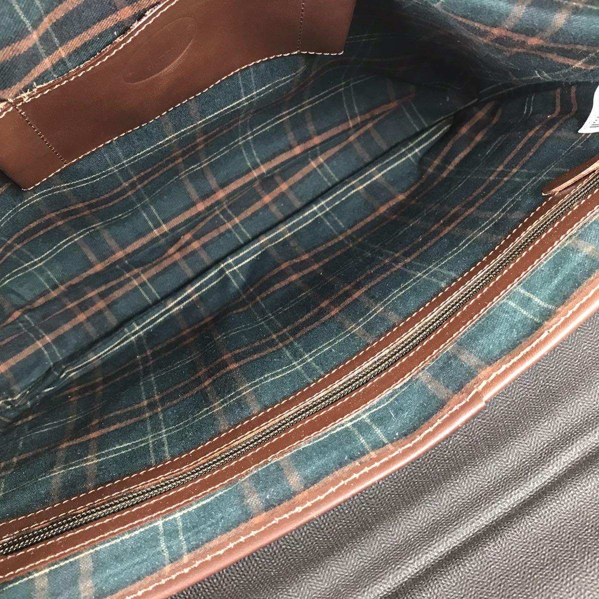 【ダンヒル】本物 dunhill ビジネスバッグ 2way ショルダーバッグ 鍵付 ブリーフケース 書類かばん レザー×PVC 男性用 メンズ イタリア製_画像8