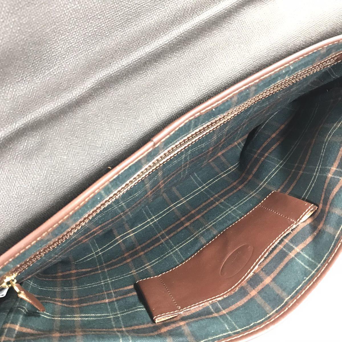 【ダンヒル】本物 dunhill ビジネスバッグ 2way ショルダーバッグ 鍵付 ブリーフケース 書類かばん レザー×PVC 男性用 メンズ イタリア製_画像9