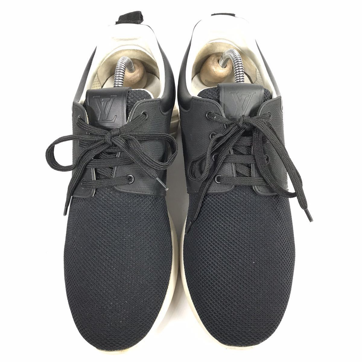 【ルイヴィトン】本物 LOUIS VUITTON 靴 25.5cm 黒 ダミエライン ファストレーン スニーカー カジュアルシューズ レザー×PVC メンズ 6 1/2_画像2