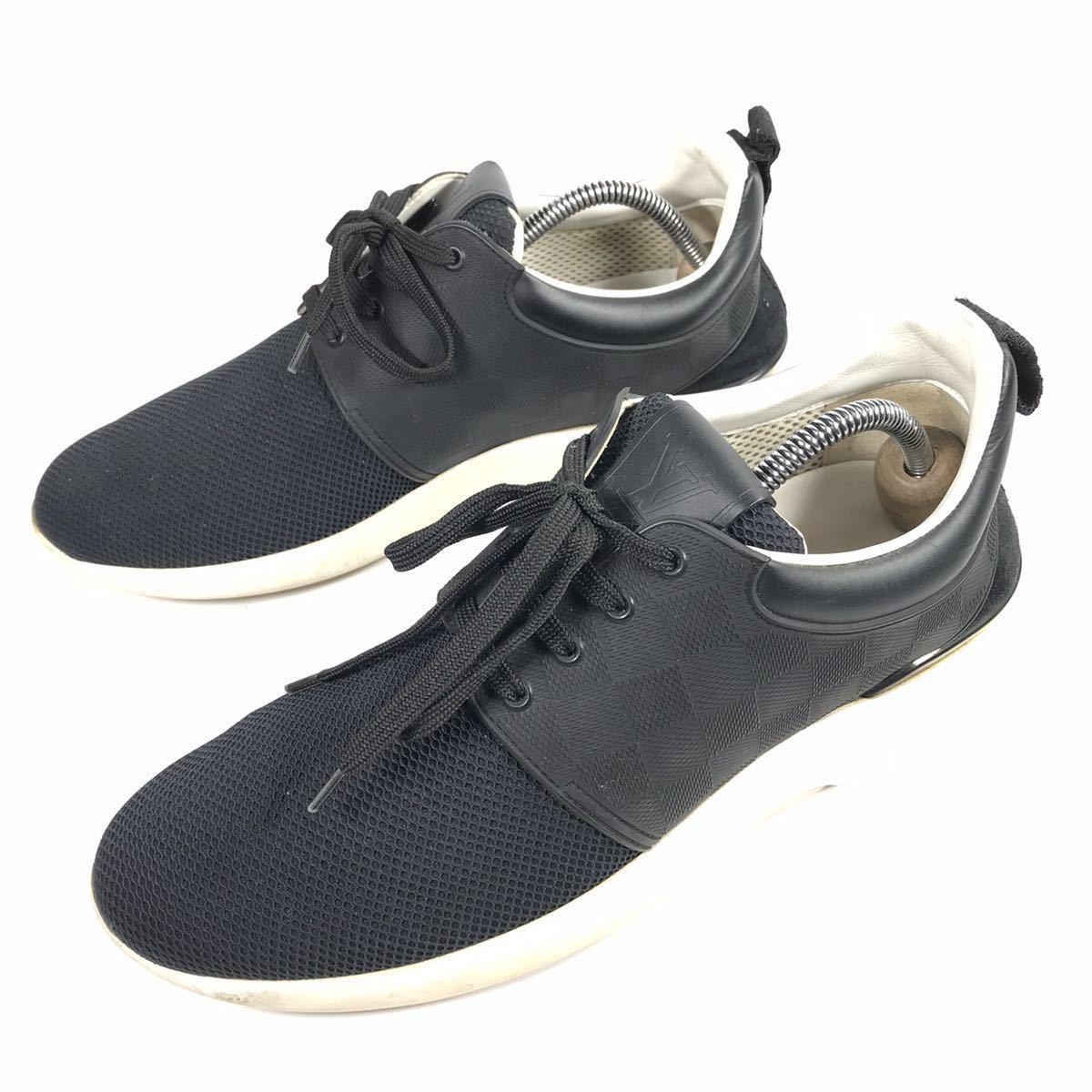 【ルイヴィトン】本物 LOUIS VUITTON 靴 25.5cm 黒 ダミエライン ファストレーン スニーカー カジュアルシューズ レザー×PVC メンズ 6 1/2_画像1