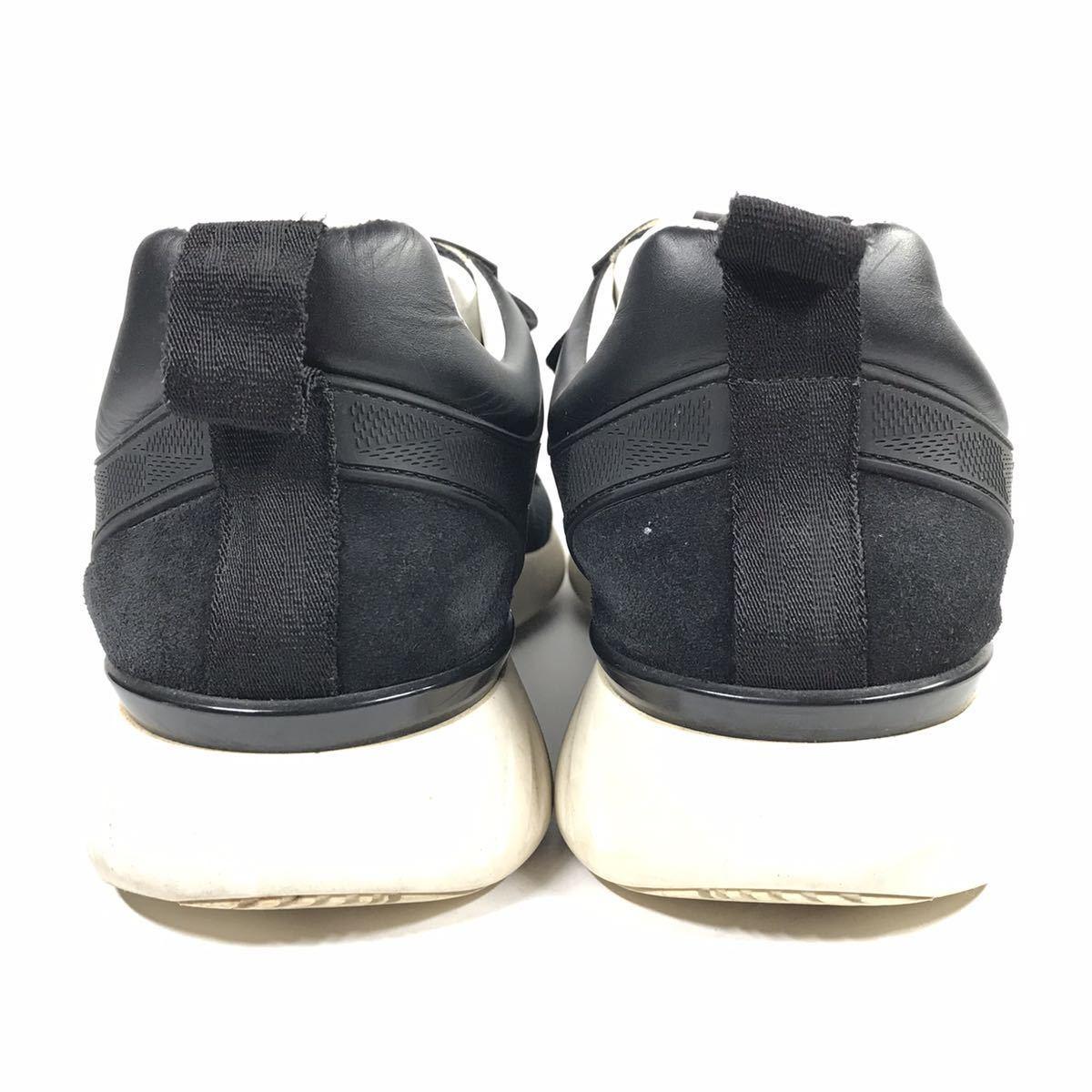 【ルイヴィトン】本物 LOUIS VUITTON 靴 25.5cm 黒 ダミエライン ファストレーン スニーカー カジュアルシューズ レザー×PVC メンズ 6 1/2_画像3