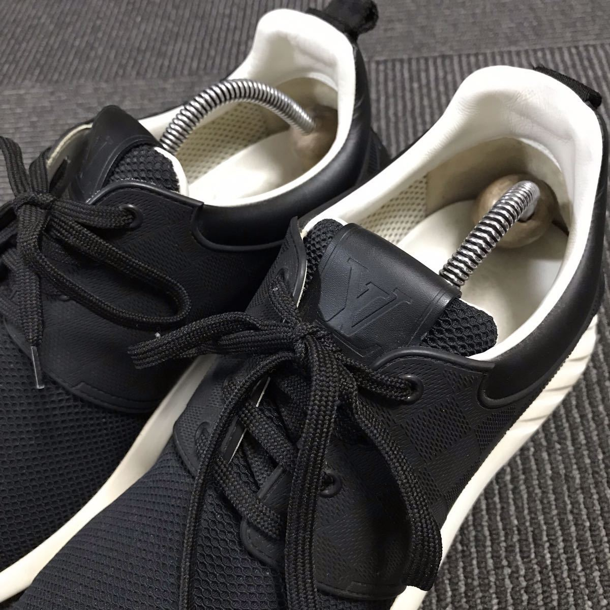 【ルイヴィトン】本物 LOUIS VUITTON 靴 25.5cm 黒 ダミエライン ファストレーン スニーカー カジュアルシューズ レザー×PVC メンズ 6 1/2_画像8
