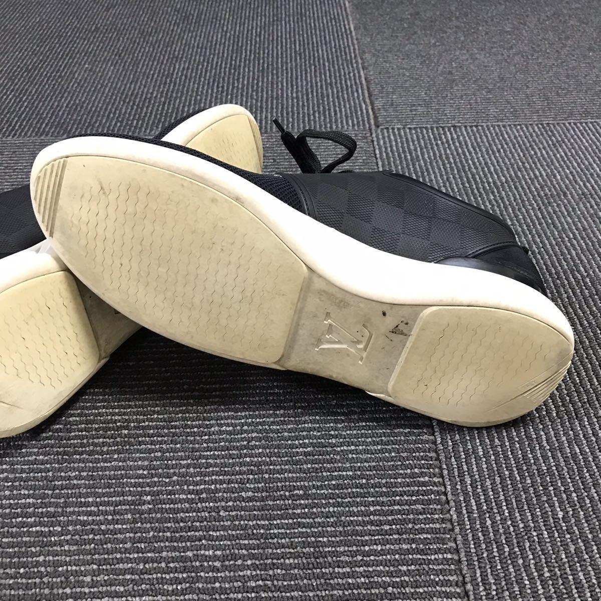 【ルイヴィトン】本物 LOUIS VUITTON 靴 25.5cm 黒 ダミエライン ファストレーン スニーカー カジュアルシューズ レザー×PVC メンズ 6 1/2_画像5