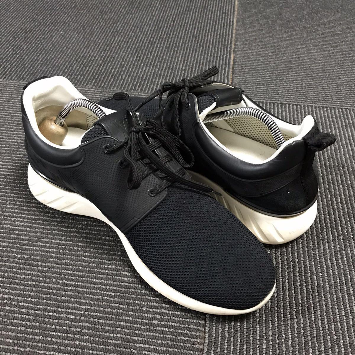【ルイヴィトン】本物 LOUIS VUITTON 靴 25.5cm 黒 ダミエライン ファストレーン スニーカー カジュアルシューズ レザー×PVC メンズ 6 1/2_画像6