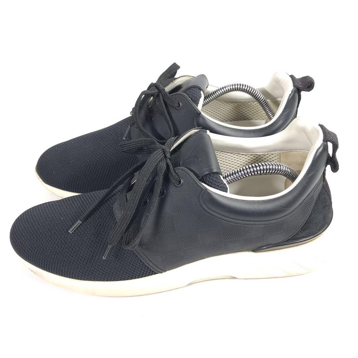 【ルイヴィトン】本物 LOUIS VUITTON 靴 25.5cm 黒 ダミエライン ファストレーン スニーカー カジュアルシューズ レザー×PVC メンズ 6 1/2_画像7