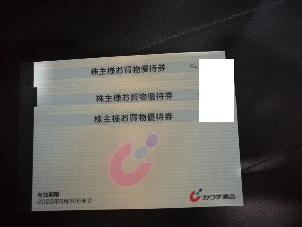 カワチ薬品 株主優待券 5000円分 送料63円~ 1~3セット 2022年6月末まで_画像1