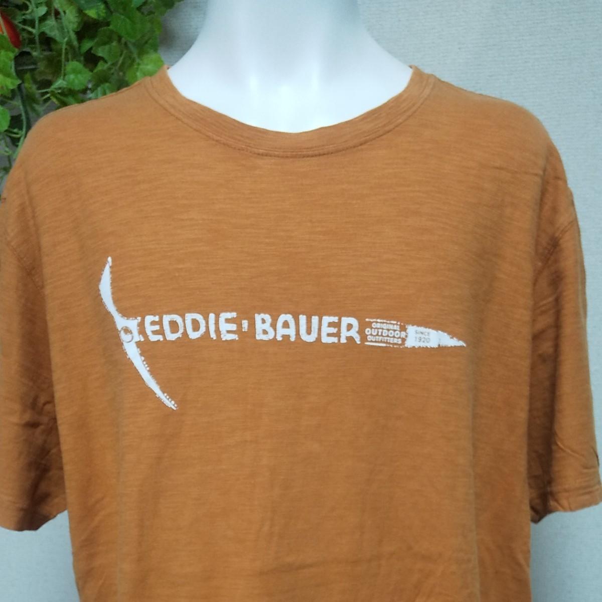 エディーバウアー半袖TシャツXL/2XL オレンジ 横方向に掠れた風合いがおしゃれな生地 EDDIE BAUER OUTDOOR