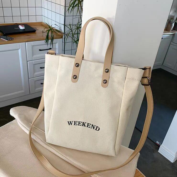 トートバッグ レディース ショルダーバッグ 2way レザーポーチ付き キャンバス 手提げバッグ両用可能 ちょいお出かけに最適♪ ホワイト