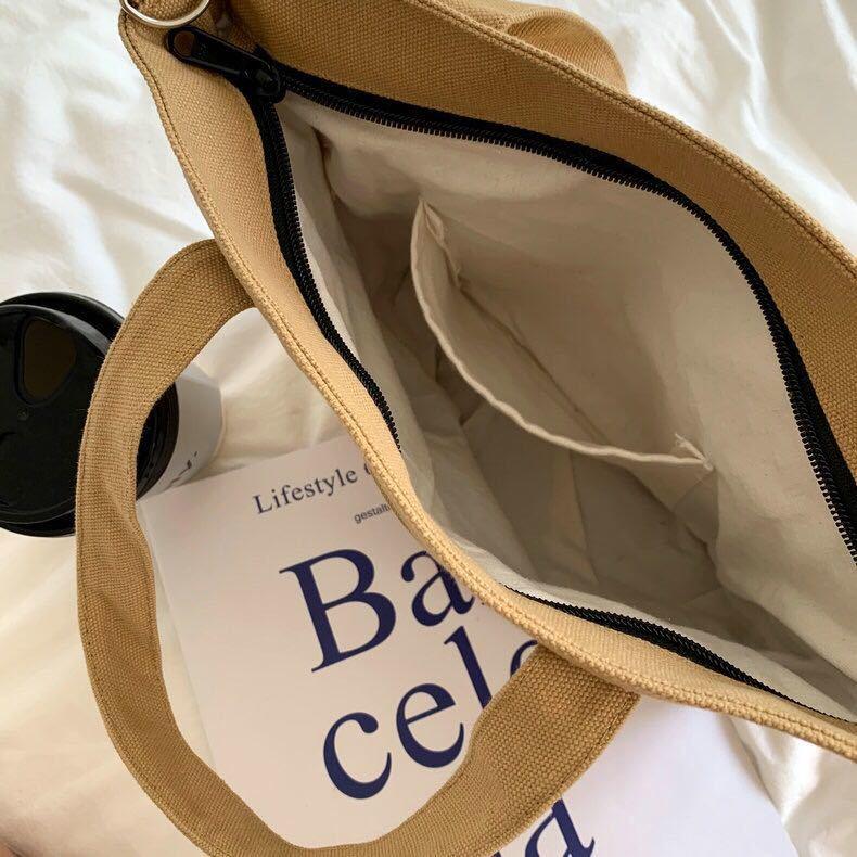 ショルダーバッグ トートバッグ 2way仕様 レディース 帆布 手提げバッグ ファスナー付き グリーン 送料無料