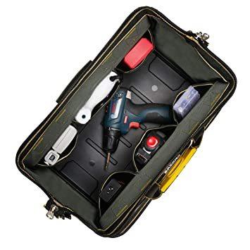 29x19x19CM YZL ツールバッグ 工具袋 ショルダー ベルト付 肩掛け 手提げ 大口収納 差し入れ 底部特化 プラスチ_画像5
