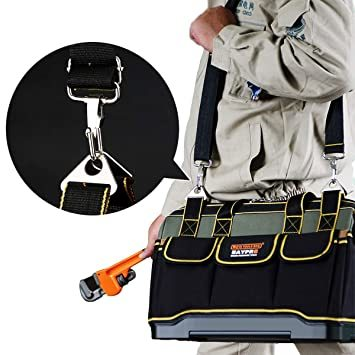 29x19x19CM YZL ツールバッグ 工具袋 ショルダー ベルト付 肩掛け 手提げ 大口収納 差し入れ 底部特化 プラスチ_画像6