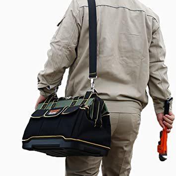 29x19x19CM YZL ツールバッグ 工具袋 ショルダー ベルト付 肩掛け 手提げ 大口収納 差し入れ 底部特化 プラスチ_画像7