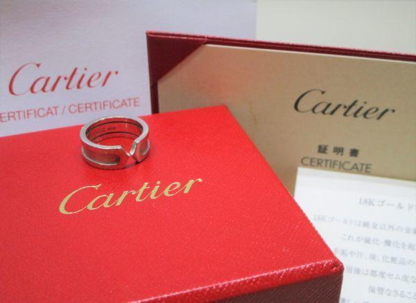 Cartier カルティエ 2C C2 リング 指輪 K18WG 750 ホワイトゴールド 47 正規品
