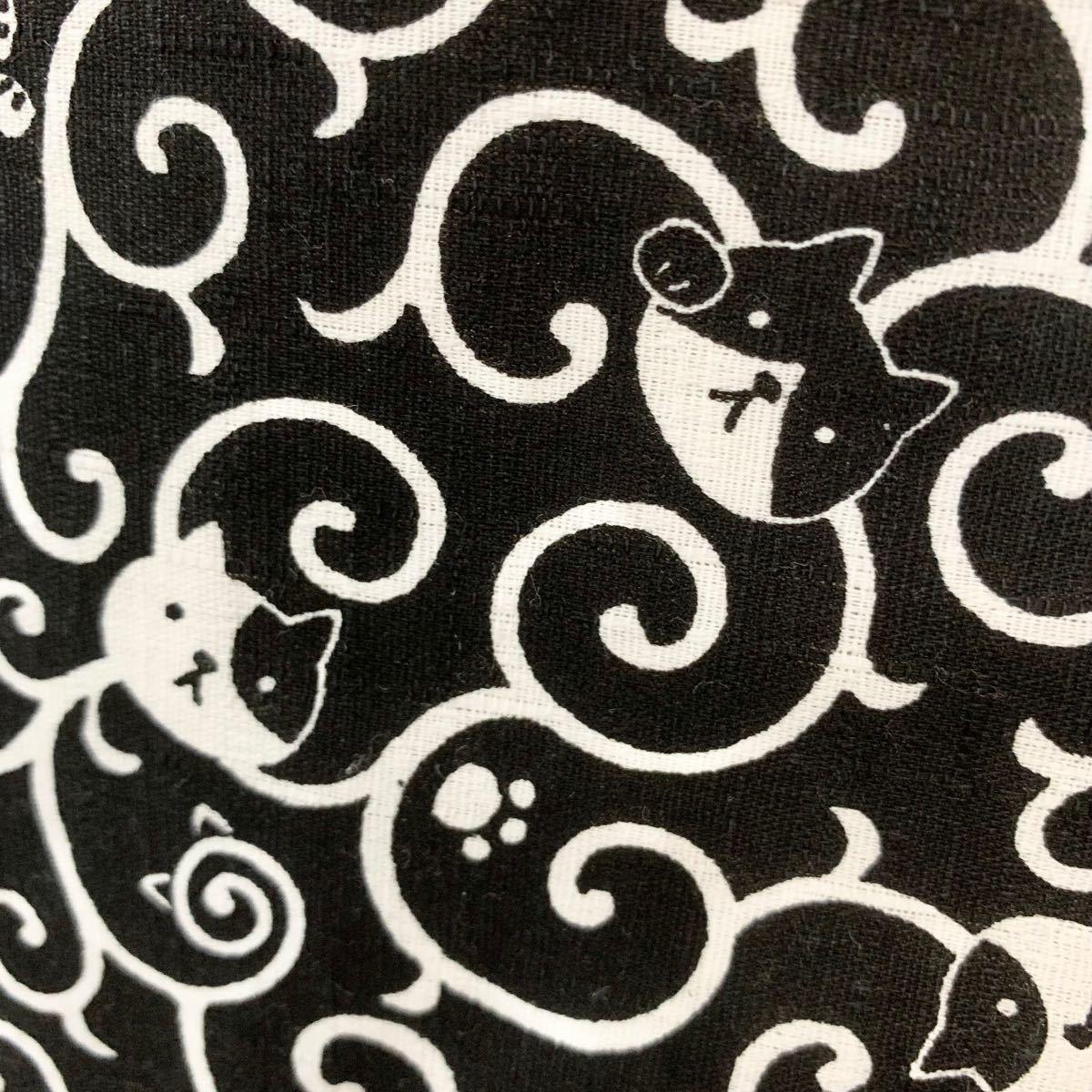 ハンドメイド レース ネコ 猫 ネコ 黒 トートバッグ 手さげ カバン 革 持ち手 手作りトートバッグ ハンドメイドバッグ 内ポケ