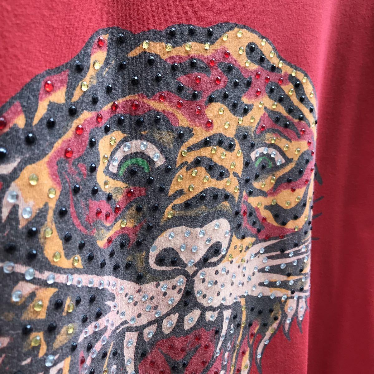 US古着 USA製 Ed Hardy プリントTシャツ アニマル柄 トラ柄 入れ墨 タトゥー タトゥー柄 半袖Tシャツ エドハーディー アメリカ製 XLサイズ_画像7