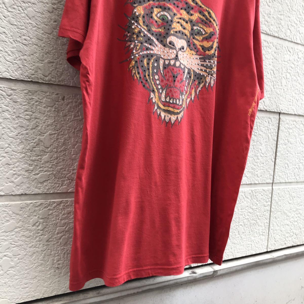 US古着 USA製 Ed Hardy プリントTシャツ アニマル柄 トラ柄 入れ墨 タトゥー タトゥー柄 半袖Tシャツ エドハーディー アメリカ製 XLサイズ_画像5