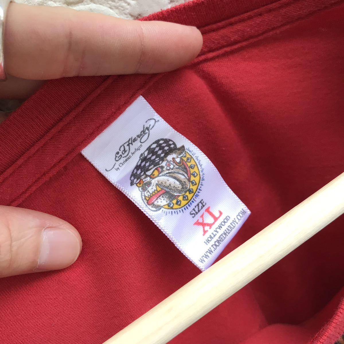 US古着 USA製 Ed Hardy プリントTシャツ アニマル柄 トラ柄 入れ墨 タトゥー タトゥー柄 半袖Tシャツ エドハーディー アメリカ製 XLサイズ_画像8