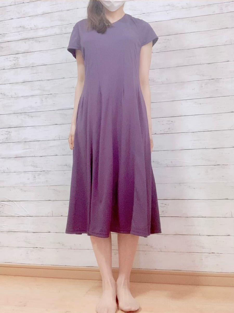 サラサラ 紫色ワンピース L